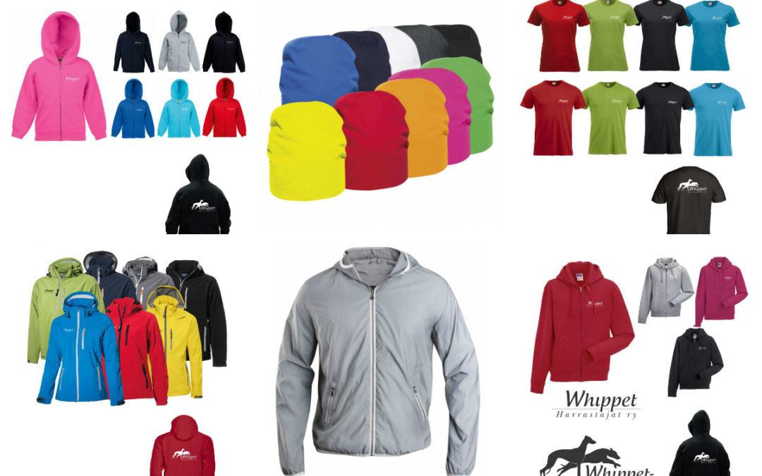 Whippet-Harrastajat ry:n logolla painatettuja vaatteita tilattavissa